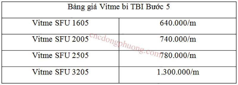 bảng giá Vitme TBI bước 5