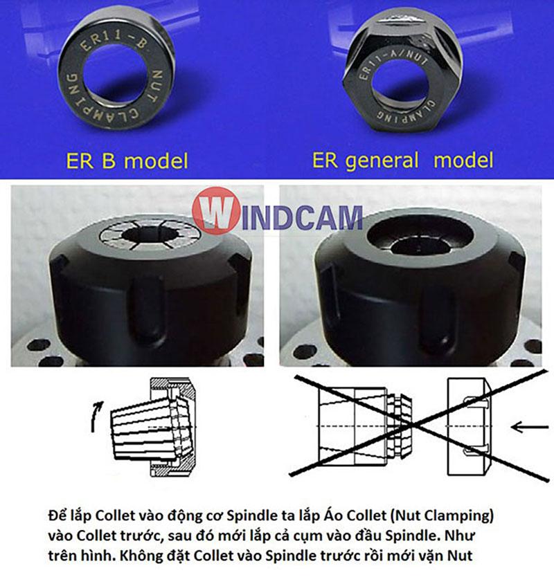 Cách lắp đặt collet vào Spindle