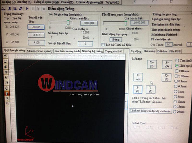 giao diện phần mềm điều khiển CA100