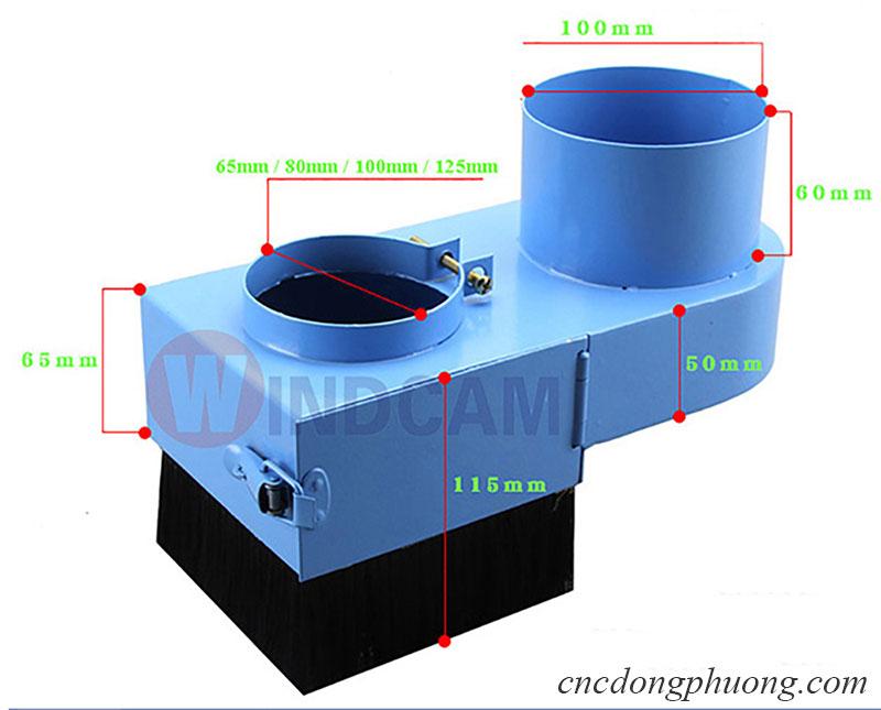 Kích thước đầu chụp hút bụi máy cnc