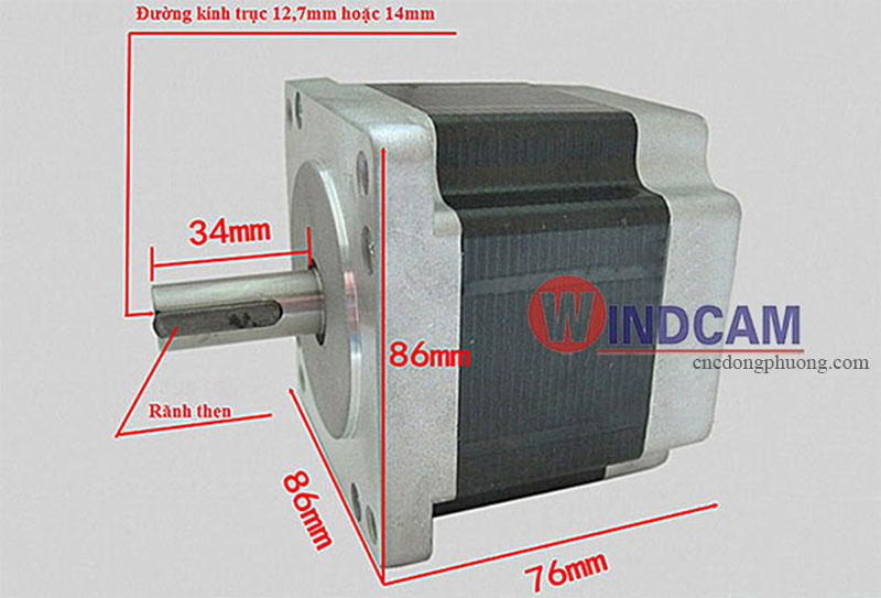 Kích thước Step Motor 86BYGH450A-06
