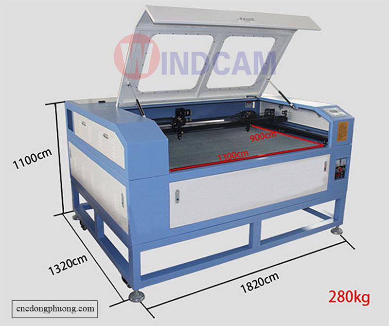 kích thước máy cắt khắc laser 1390-2 đầu