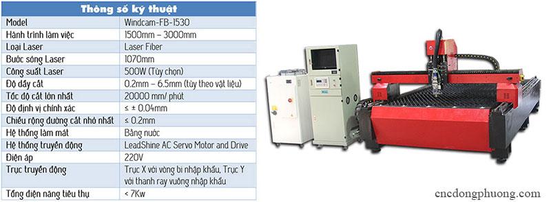 thông số kỹ thuật máy cắt laser fiber hiện đại