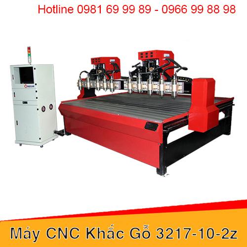 Máy CNC đục gỗ 10 đầu 2 trục Z khổ 3217
