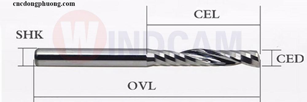 Thông số dao xoắn 1 me máy CNC