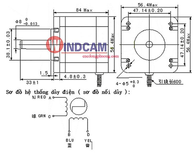 thông số động cơ bước stepping motor 57bygh311d-12