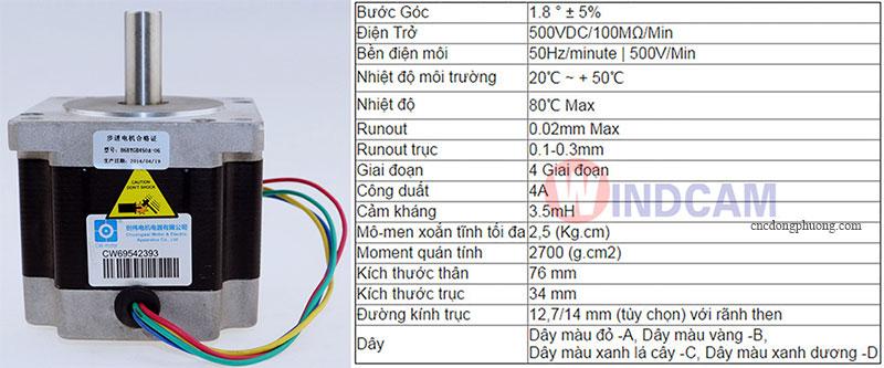 thông số kỹ thuật động cơ bước Step motor 86BYGH450A-06