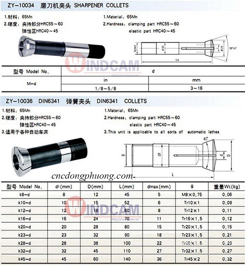 Thông số kỹ thuật collet máy mài dao khắc cnc