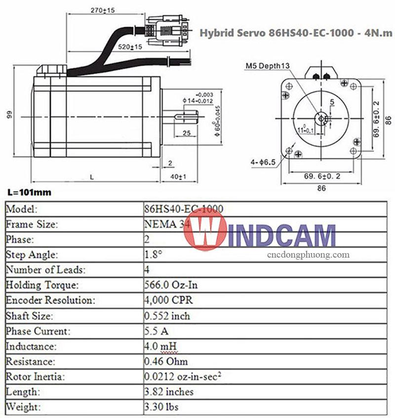thông số kỹ thuật hybird servo 86HS40 EC 1000