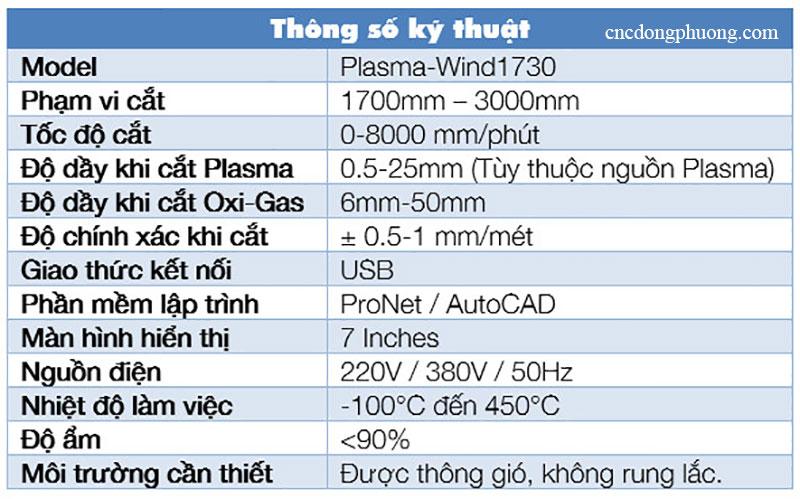 thông số kỹ thuật máy cnc plasma