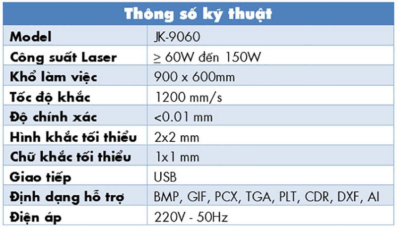 thông số kỹ thuật máy khắc laser khổ 9060
