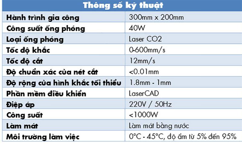 thông số kỹ thuật máy laser CO2 mini