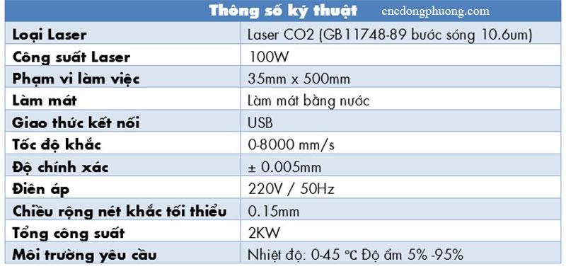 thông số kỹ thuật máy laser C02 khắc nhãn chính hãng