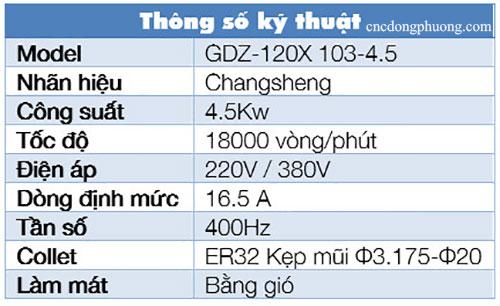 thông số kỹ thuật spindle làm máy bằng gió loại 4,5kw
