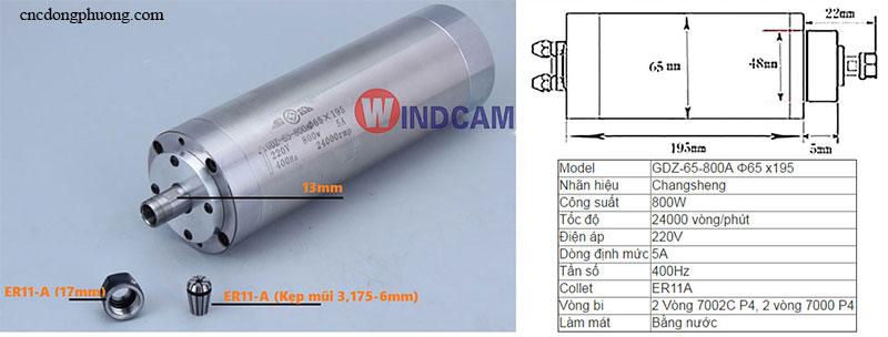 spindle làm mát bằng nước loại 0,8kw-195mm