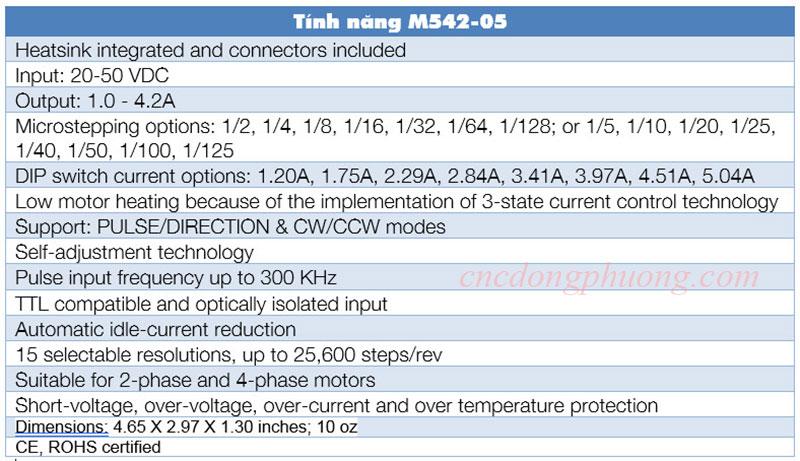 Tình năng driver M542-05