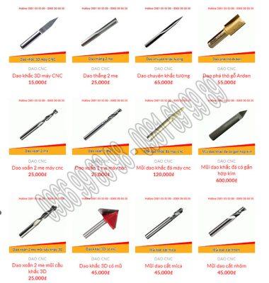 Các loại dao điêu khắc gỗ CNC phổ biến thông dụng hiện nay