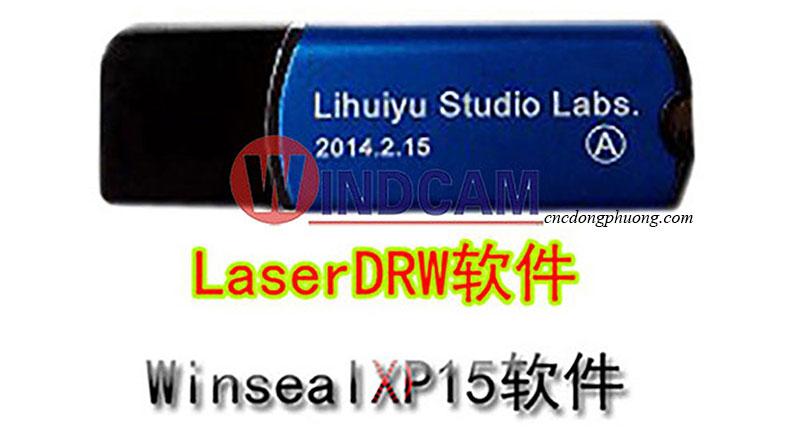 khóa phần mềm máy laser màu xanh