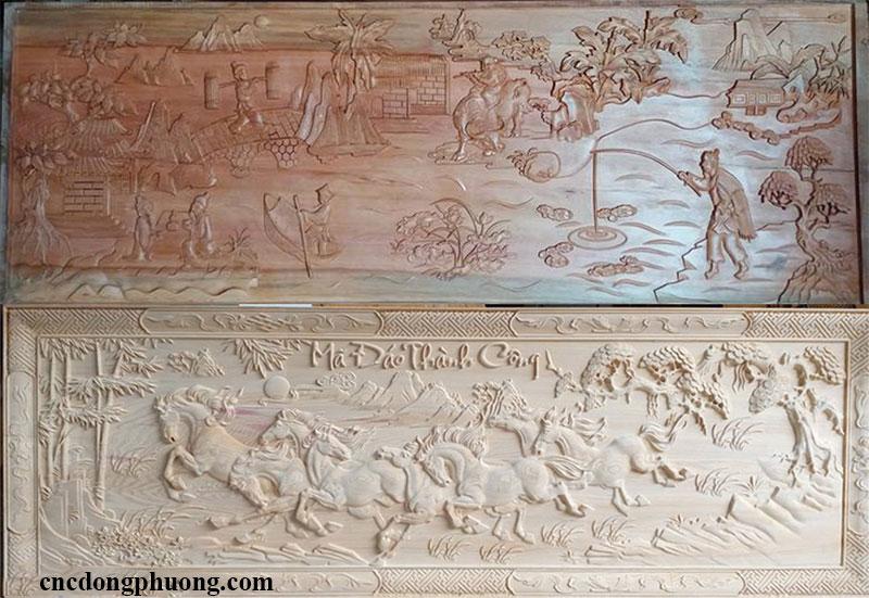 máy khắc cnc 4 đầu khắc tranh gỗ