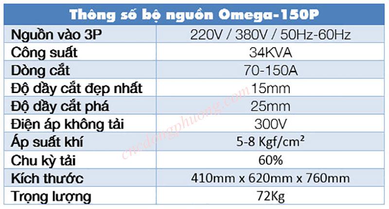 thông số nguồn plasma omega 150P